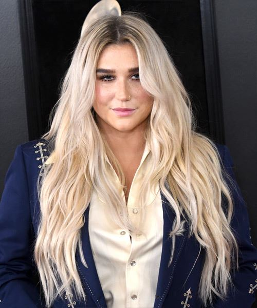 Kesha Long Wavy Casual    Hairstyle   - Light Ash Blonde Hair Color