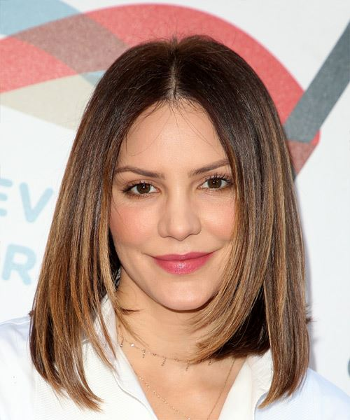 Katharine McPhee Medium Straight Formal Bob  Hairstyle   - Medium Brunette