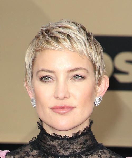 Kate Hudson Short Straight Casual Pixie  Hairstyle with Razor Cut Bangs  - Light Blonde (Ash)