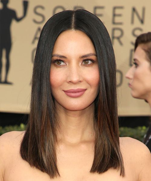 Olivia-Munn Medium Straight Formal  Bob  Hairstyle   - Dark Brunette Hair Color