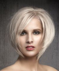 Short Straight Formal  Bob  Hairstyle with Side Swept Bangs  - Light Ash Blonde Hair Color