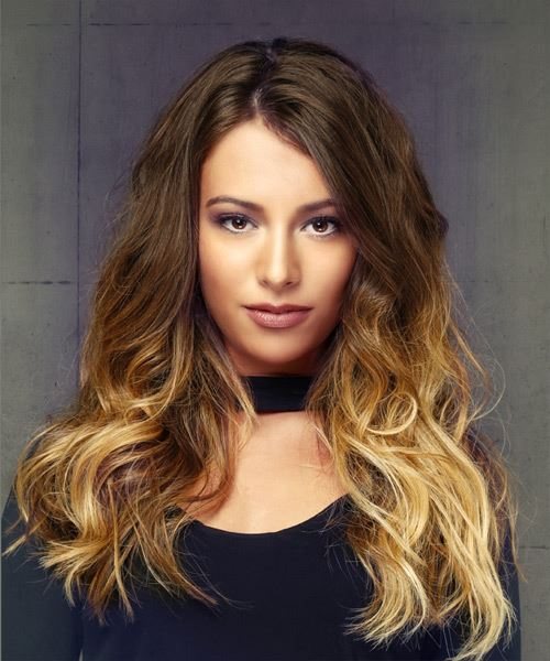 Long Wavy Casual    Hairstyle   -  Brunette and  Blonde Two-Tone Hair Color