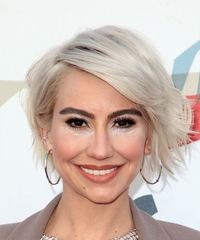 Chelsea Kane Short Wavy Casual  Bob  Hairstyle with Side Swept Bangs  - Light Ash Blonde Hair Color
