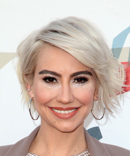 Chelsea Kane Short Wavy Icy White Blonde Bob Hairstyle with Side Swept Bangs -  Hair Color suitable for Cool Skin Tones