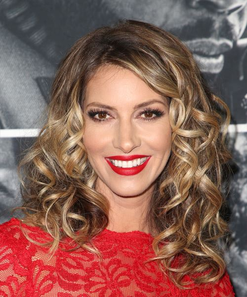 Dawn Olivieri Medium Curly Casual    Hairstyle   - Medium Brunette Hair Color with Light Blonde Highlights