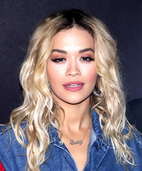 Rita Ora Long Wavy Casual   Hairstyle   - Light Blonde