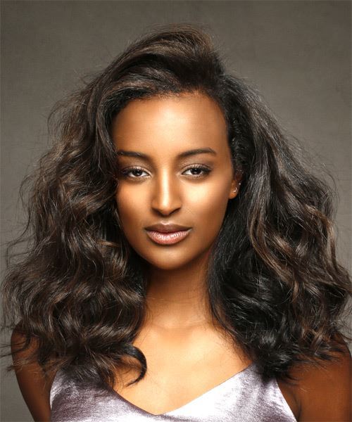 Long Wavy Casual   Hairstyle   - Black