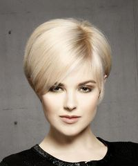 Light Blonde Pixie  Cut with Side Swept Bangs