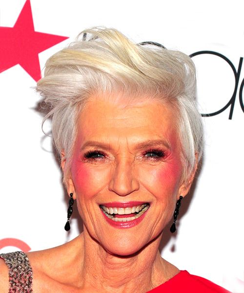 Maye Musk     Light Grey Pixie  Cut