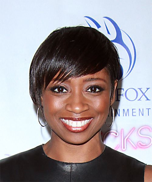 Montego Glover Short Straight Casual Pixie  Hairstyle with Side Swept Bangs  - Black