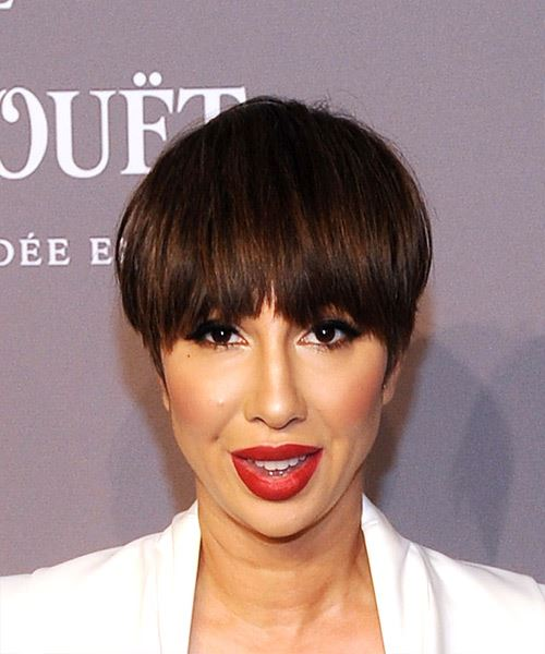 Jackie Cruz Short Straight Casual  Pixie  Hairstyle with Layered Bangs  - Medium Brunette Hair Color