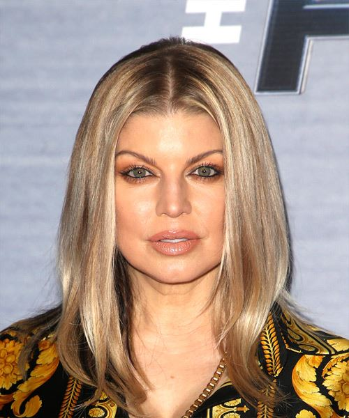 Fergie Medium Straight Casual   Hairstyle   - Medium Blonde