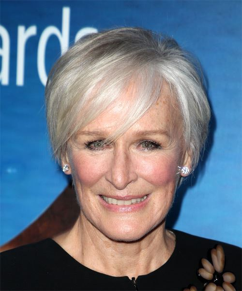 Glenn Close Short Straight Casual  Pixie  Hairstyle with Side Swept Bangs  - Light Grey Hair Color