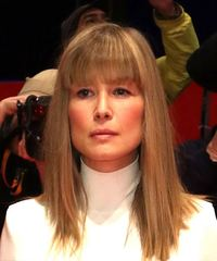 Rosamund Pike Medium Straight Casual  Bob  Hairstyle with Blunt Cut Bangs  - Dark Blonde Hair Color