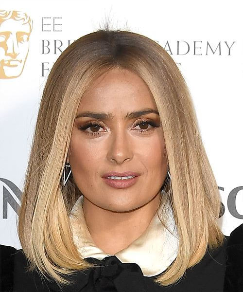 Salma Hayek Medium Straight    Blonde Bob  Haircut