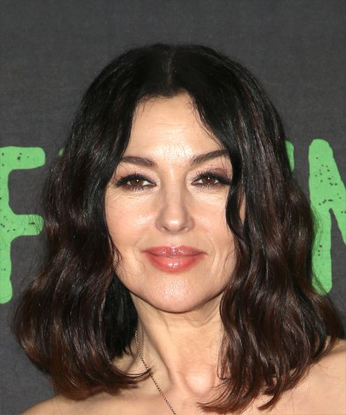 Monica Bellucci Medium Wavy Casual Bob  Hairstyle   - Dark Brunette