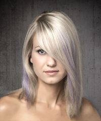 Medium Straight Alternative  Bob  Hairstyle with Side Swept Bangs  - Light Blonde and Purple Two-Tone Hair Color