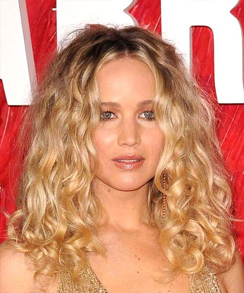 Jennifer Lawrence Long Curly Casual   Hairstyle   - Light Blonde