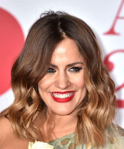 Caroline Flack Medium Wavy    Brunette and  Blonde Two-Tone Bob  Haircut
