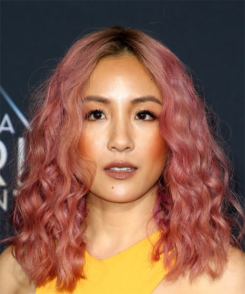 Constance Wu Medium Curly Casual Bob  Hairstyle   - Pink