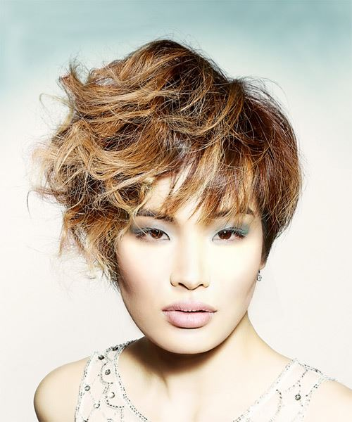 Short Wavy Casual  Pixie  Hairstyle with Layered Bangs  -  Brunette and  Blonde Two-Tone Hair Color