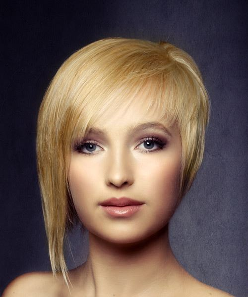 Short Straight   Light Golden Blonde Asymmetrical  Hairstyle with Side Swept Bangs