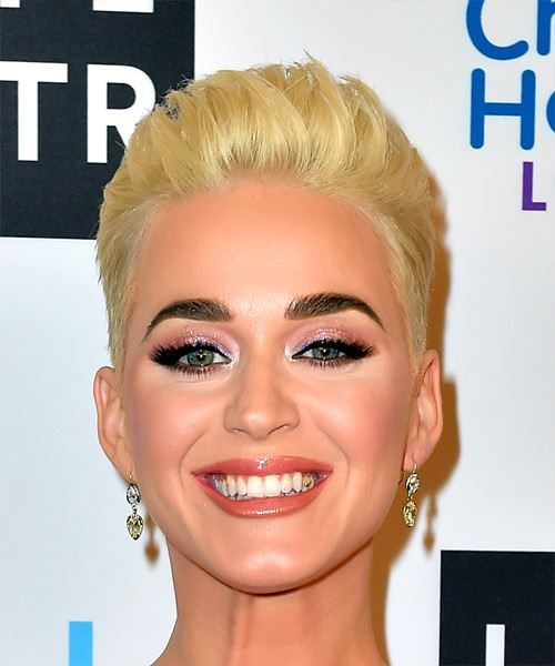 Katy Perry Short Straight Light Golden Blonde Hairstyle