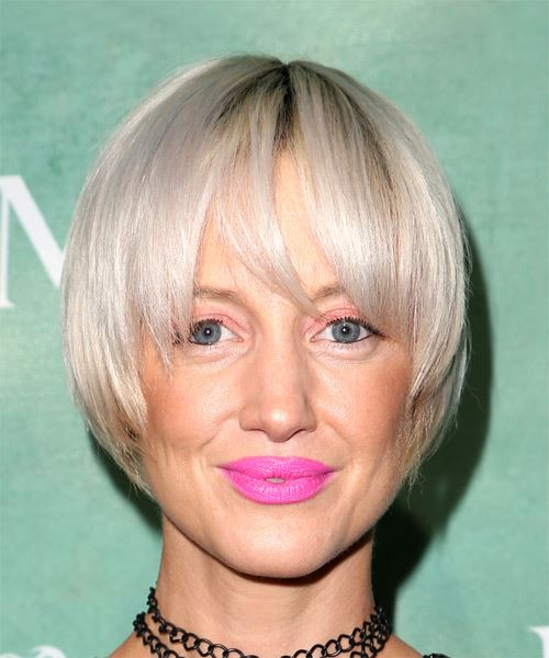 Andrea Riseborough Short Straight   Light Ash Blonde   Hairstyle with Layered Bangs