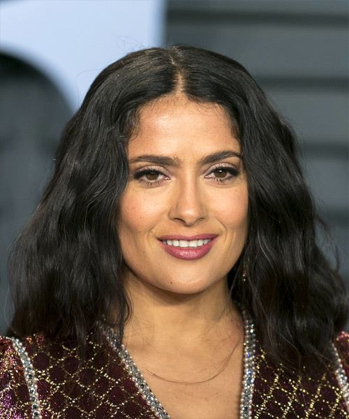 Salma Hayek Medium Wavy Casual Bob  Hairstyle   - Black