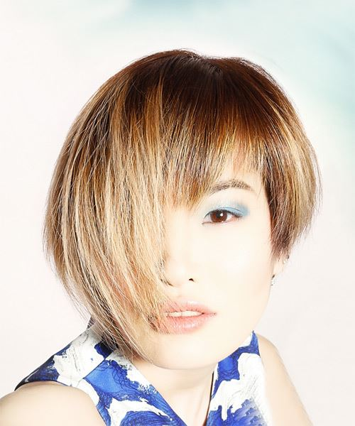 Short Straight   Light Brunette   Hairstyle with Asymmetrical Bangs  and Light Blonde Highlights