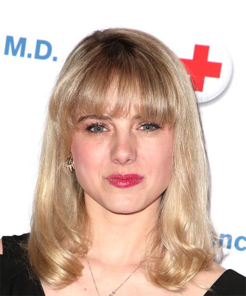 Laura Wiggins Medium Straight   Light Blonde Bob  Haircut with Layered Bangs