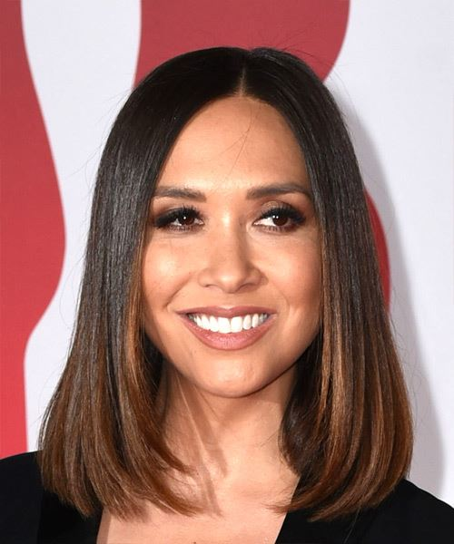 Myleene Klass Medium Straight Formal Bob  Hairstyle   - Medium Brunette