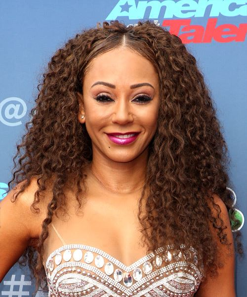 Mel-B Long Curly Casual  Afro  Hairstyle   - Dark Brunette Hair Color