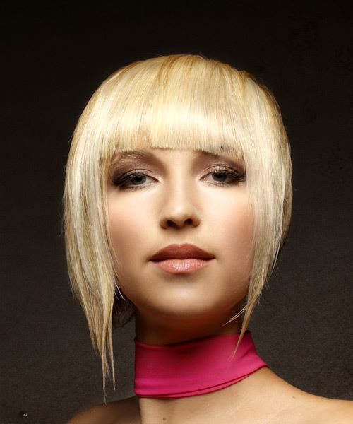 Short Straight Alternative  Asymmetrical  Hairstyle with Asymmetrical Bangs  - Light Blonde Hair Color