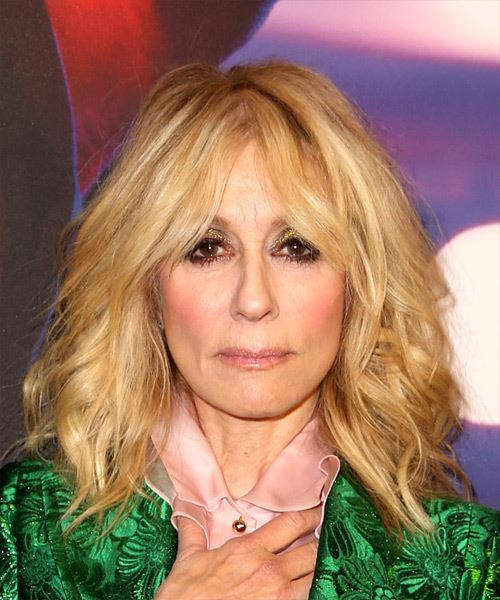 Judith Light Medium Wavy Casual   Hairstyle with Layered Bangs  - Light Blonde