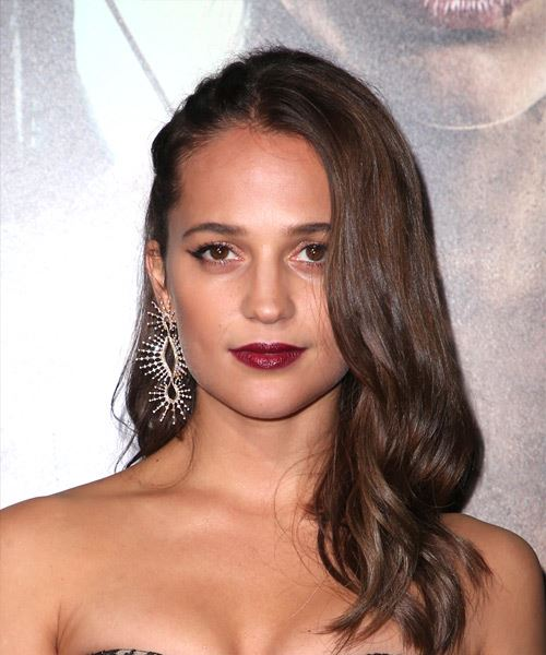 Alicia Vikander Long Wavy Casual   Hairstyle   - Medium Brunette