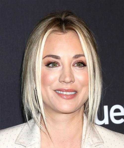 Kaley Cuoco Long Straight Casual   Half Up Hairstyle   - Light Blonde Hair Color