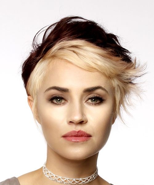 Light Blonde and Dark Brunette Two-Tone Pixie  Cut with Side Swept Bangs