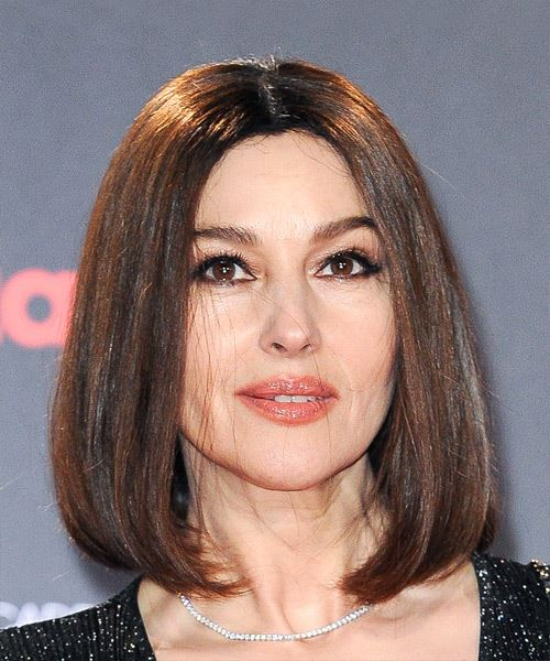 Monica Bellucci Medium Straight Casual Bob  Hairstyle   - Medium Brunette