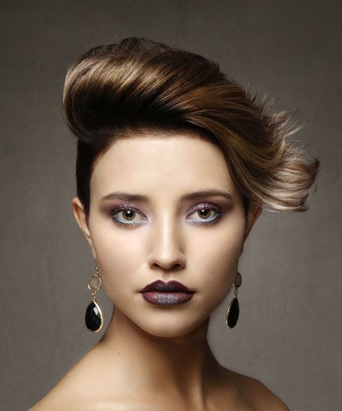 Short Straight Alternative Asymmetrical  Hairstyle   - Medium Brunette