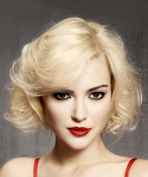 Short Wavy Casual Bob Hairstyle With Side Swept Bangs Light Blonde