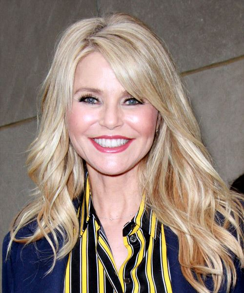 Christie Brinkley Long Wavy Casual    Hairstyle with Side Swept Bangs  - Light Blonde Hair Color