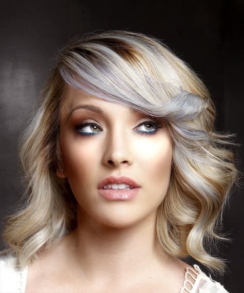 Medium Wavy Casual    Hairstyle with Side Swept Bangs  - Light Blonde Hair Color