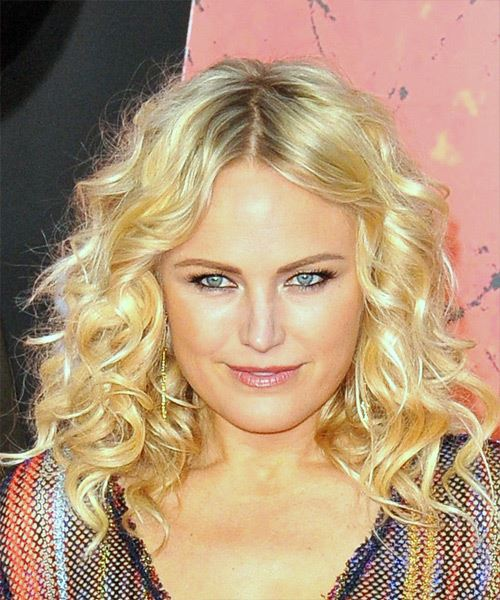 Malin Akerman Medium Curly Light Blonde Hairstyle