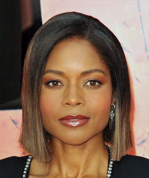 Naomie Harris Short Straight Casual  Bob  Hairstyle   - Black  and Medium Brunette Two-Tone Hair Color