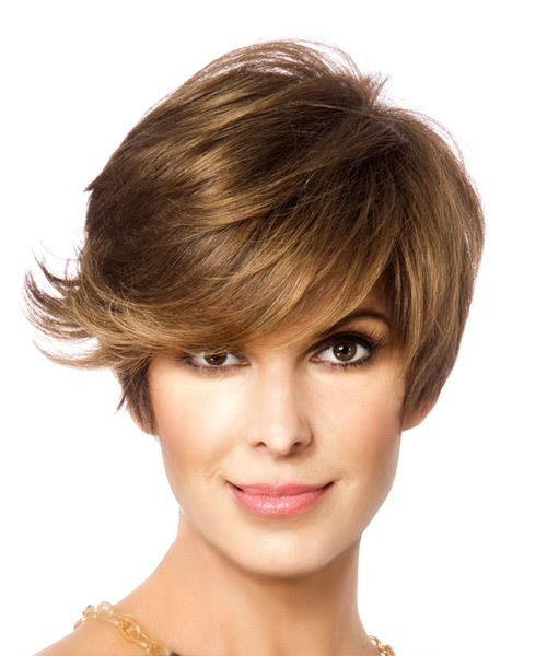 Short Straight   Light Brunette   Hairstyle with Side Swept Bangs