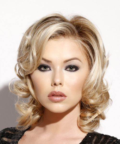 Medium Wavy   Light Blonde   Hairstyle with Side Swept Bangs