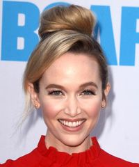 Kelley Jakle Long Straight Casual   Updo Hairstyle with Side Swept Bangs  -  Blonde Hair Color