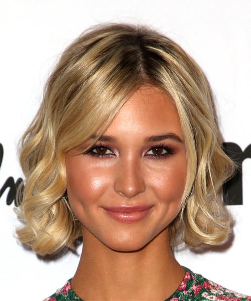 Isabel May Medium Wavy   Light Blonde Bob  Haircut with Side Swept Bangs
