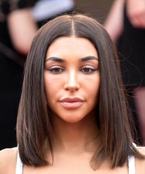 Chantel Jeffries Medium Straight Formal  Bob  Hairstyle   -  Brunette Hair Color